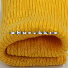 9g yellow acrylic 2x2 rib knit fabric
