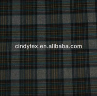 Brushed plaid printed polyester imitating wool fabric
