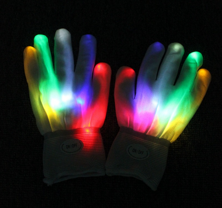 Flashing Light Party LED Glove,Cheering Gloves for Carnival White color