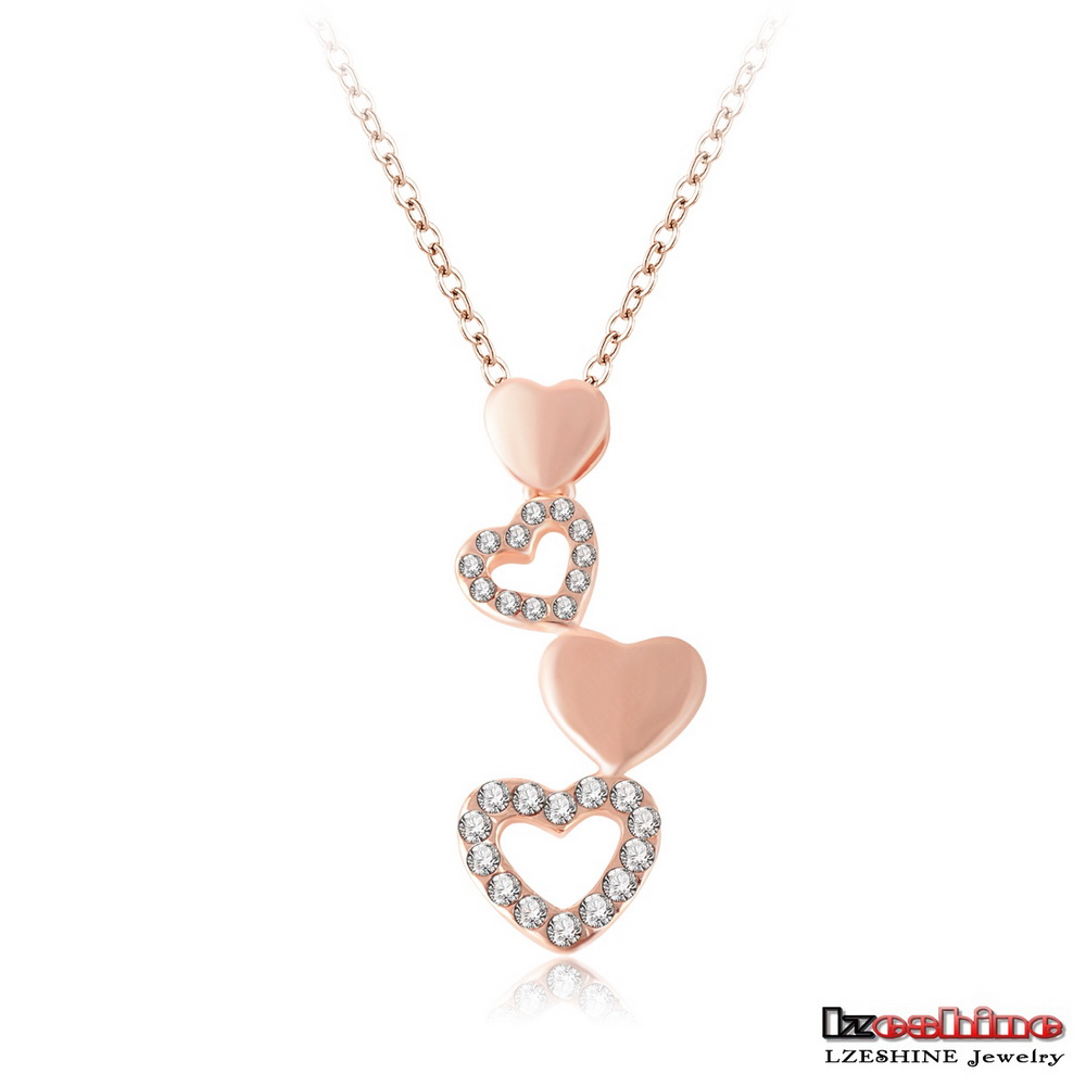 LZESHINE Wholesale Cheap Heart Long Pendant Necklace 18K Rose Gold Plated Customized Women Fashion Accessory NL0282