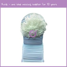 D244 white Tulle organza ruffled wholesale tulle rolls cheap wedding disposable chair cover chair cover for wedding party