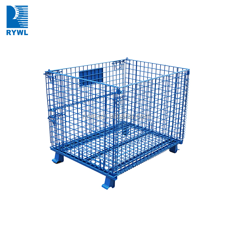 Zinc Coated Warehouse Industrial Stackable Storage Wire Mesh Containers, wire pallet cage