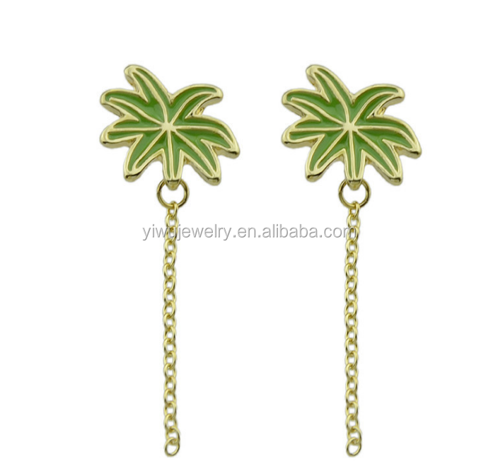 E53-<strong>101</strong> fashion newest design gold chain green enamel coconut tree earrings