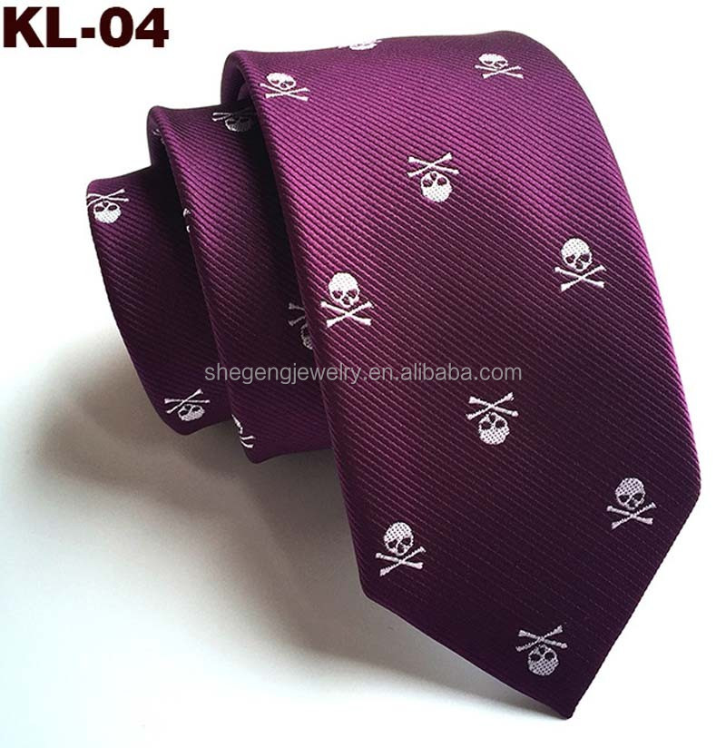 Blue Purple Skull Crossbones Necktie Skeleton Halloween Funny Party Tie