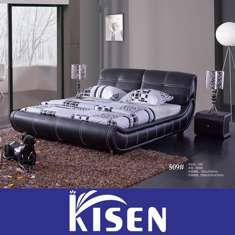 Modern king size italian leather storage bed 509