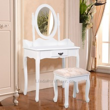 Mordern Wood Makeup Dressing Table Stool Set Bedroom with Round Mirror Drawers