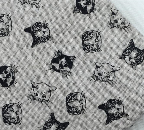 little cat printed linen cotton cloth linen blended handmade DIY fabric for decorative cloth/curtains/cushion