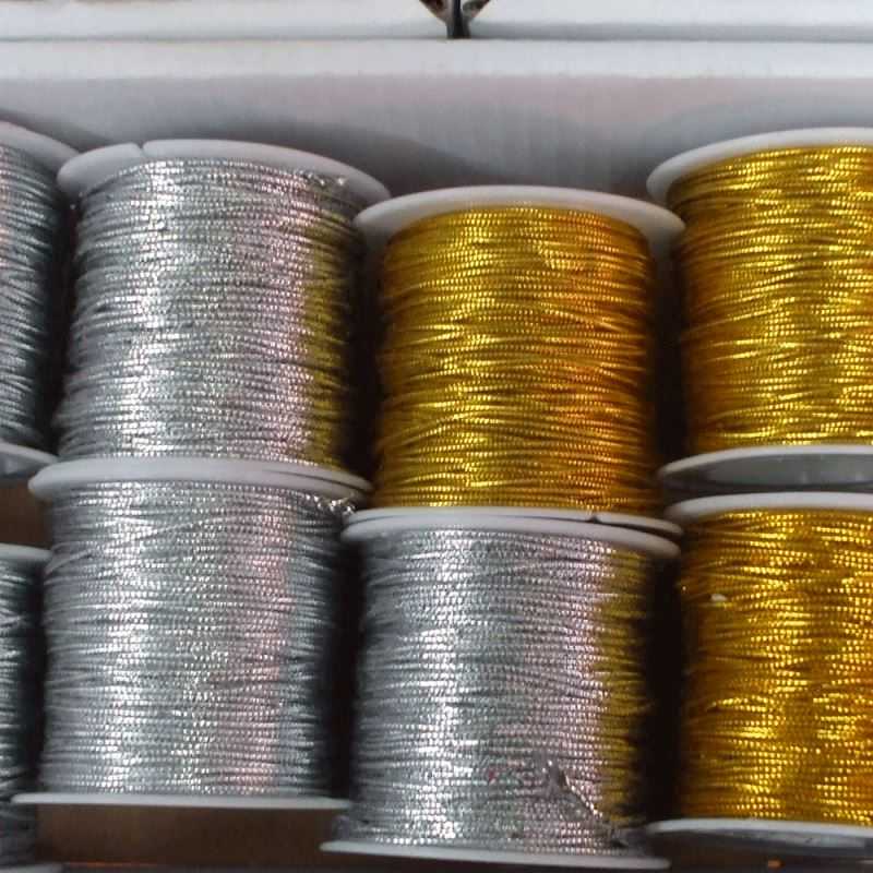 1.0mm 50M/Spool Metallic Gift Tag Cord(Non-Elastic) Gold/Silver Crafts Beading String