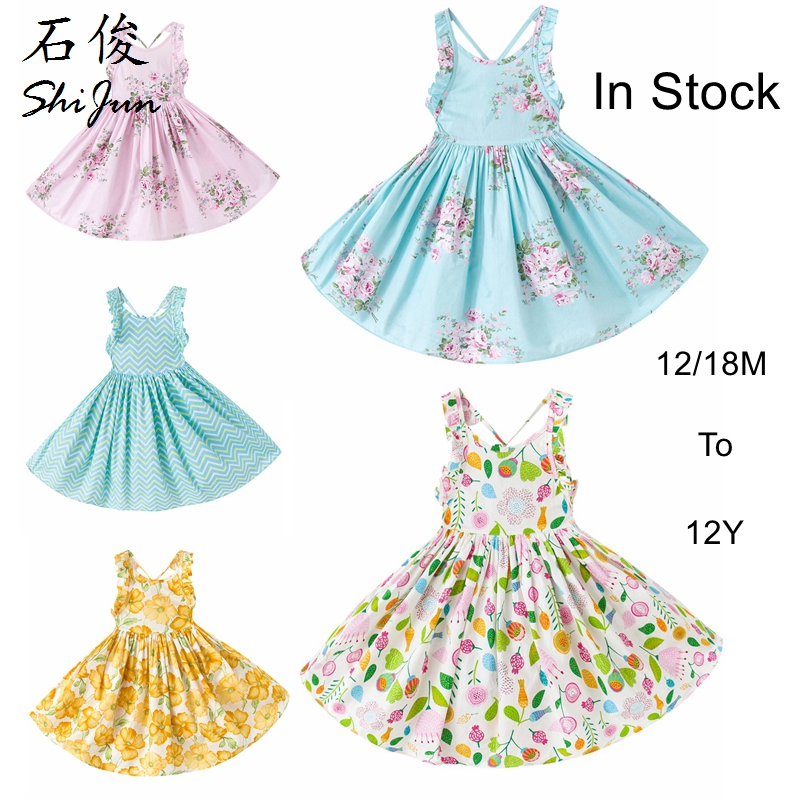 ShiJ Kids Girls Dress Floral Wholesale children's boutique clothing