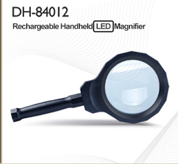DH-86019 Decorative Low Vision Aids Round Glasses Magnifier , Desktop Large Lens Led Lighting Magnifying Glass