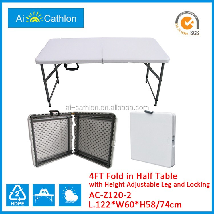 New Design HDPE Center Fold Table Adjustable Height Folding Table