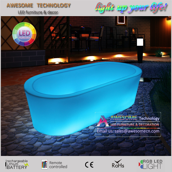 portable rechargeable cordless led glow large plastic bathtub