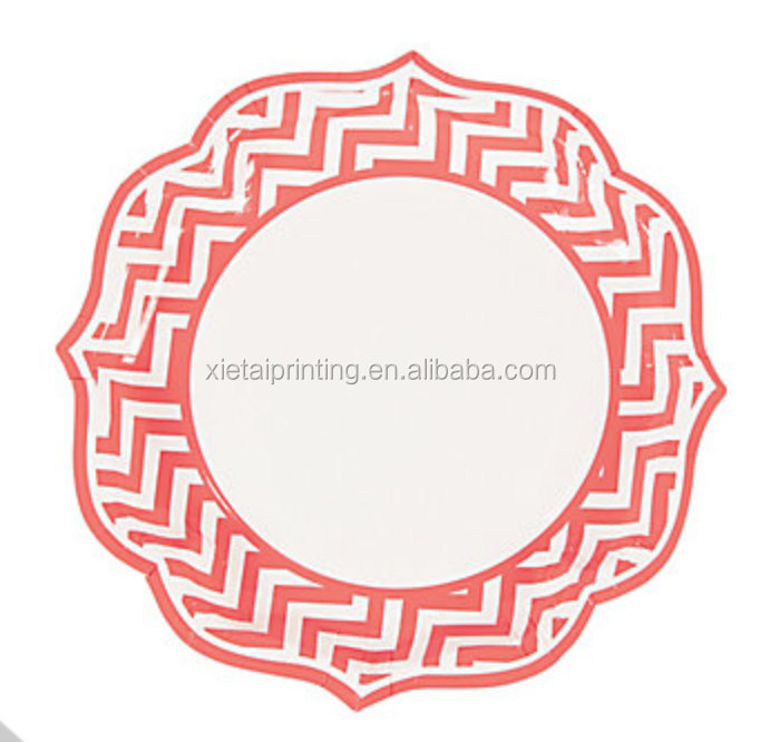 Our products disposable pink chevron paper plates for wedding party