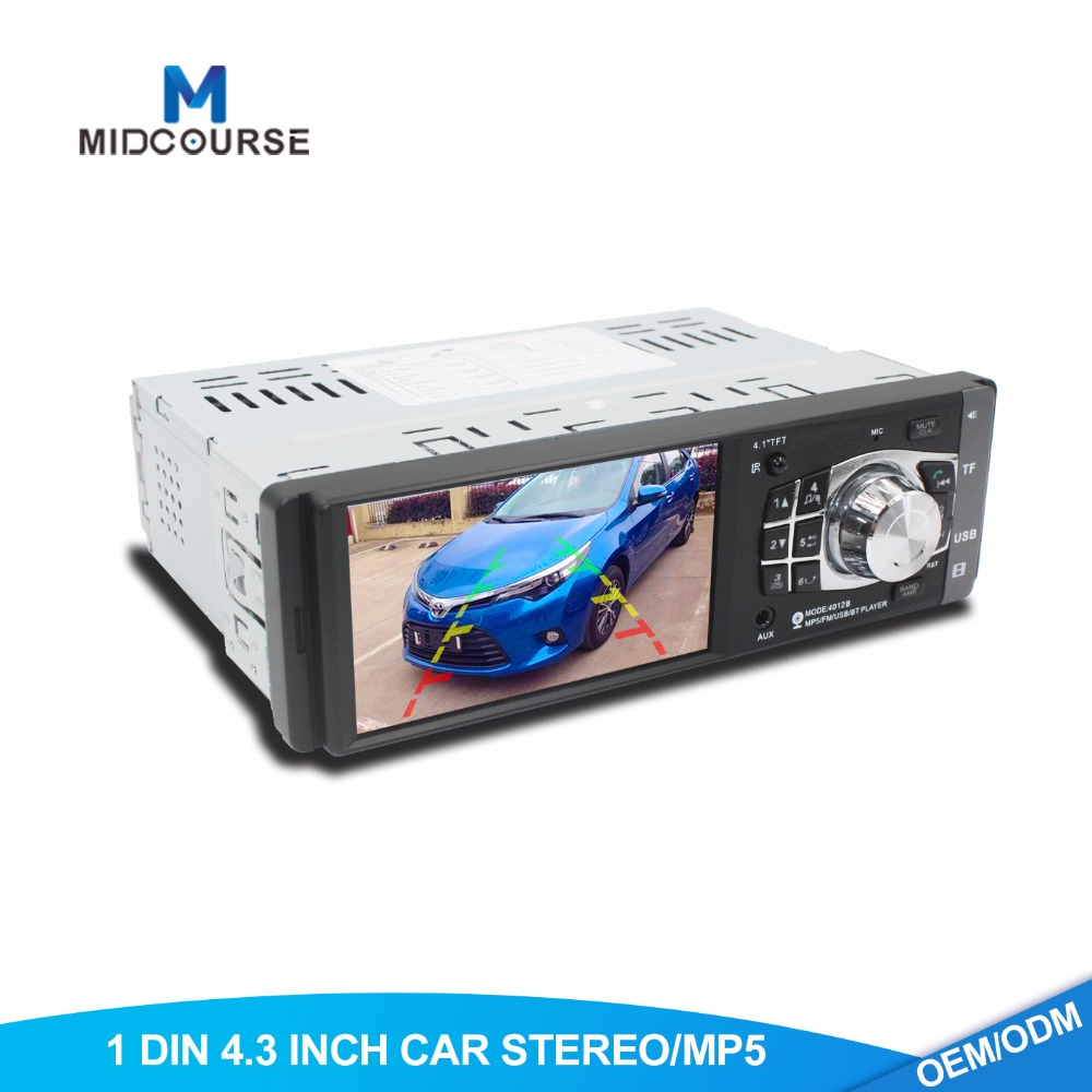 Universal 4.3 inch touch screen car 1 din automobile stereos dvd/mp5 player with MP5 FM USB Bluetooth Reverse CAM Manual