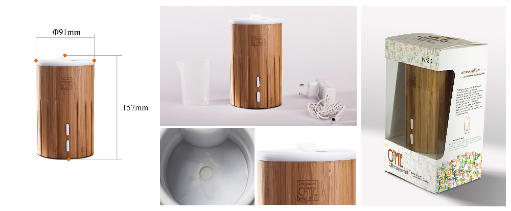 2016 Ultrasonic Wooden Aroma Diffuser With Real Banboo and Waterless Auto Shut-off Function