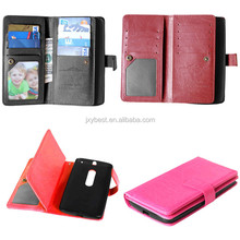 leather factory custom flip wallet case for motorola moto x play with card slots