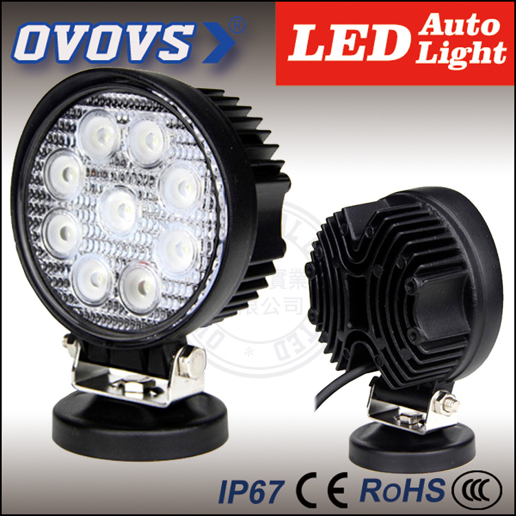 OVOVS factory cheap 12v round off road driving light 27w led work light for tractor