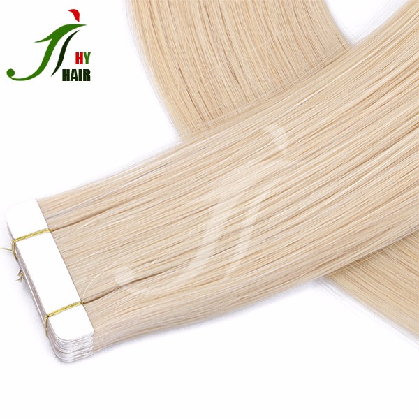 Wholesale 8A Grade 100% Unprocessed Brazilian PU Tape In Hair Extension With 613 Color