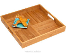 Square Shape Bamboo Serving Tray With Cross Bottom