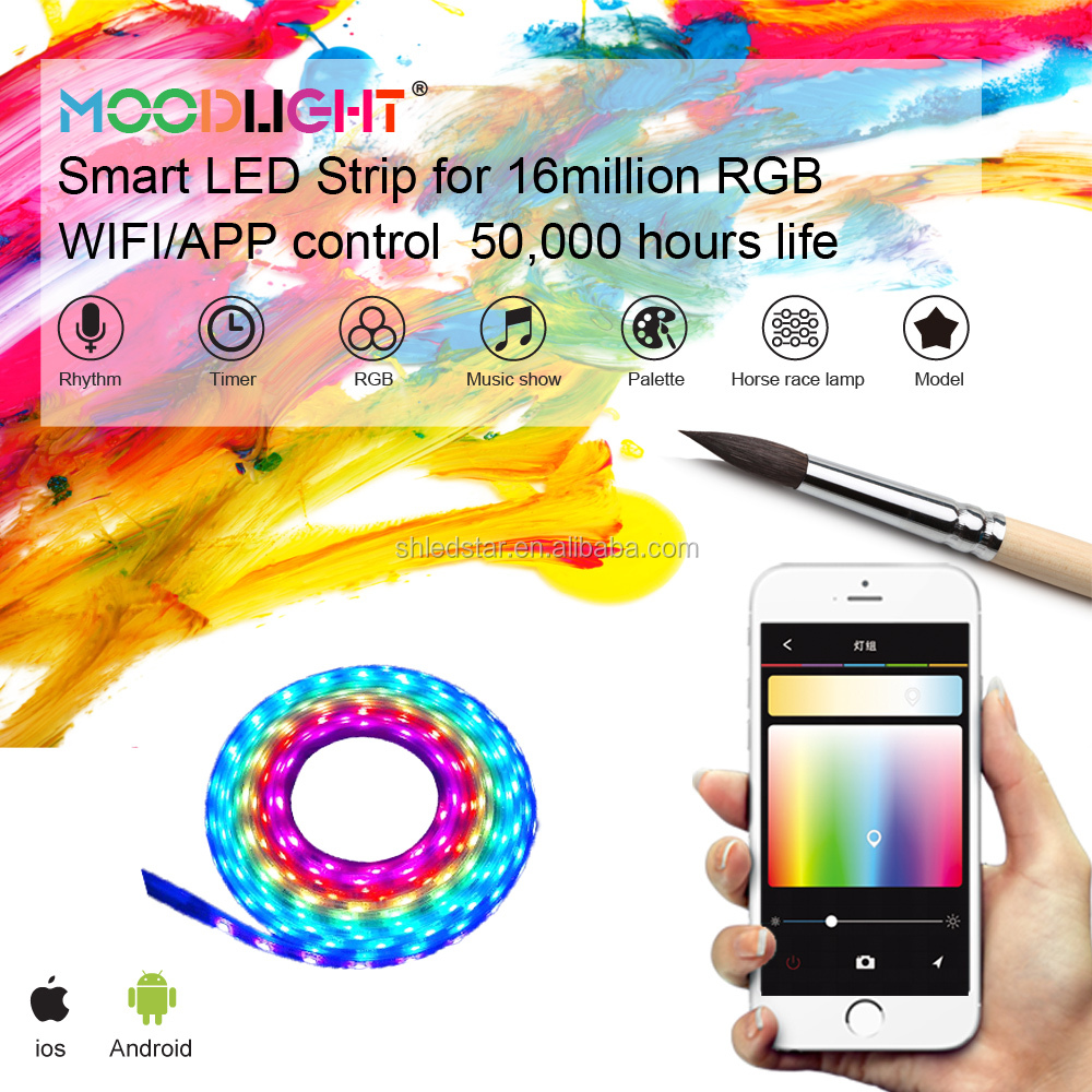 Smart Christmas LED decorative RGB 5050 strip APP WIFI mobil control digital dream color 14W