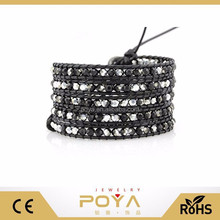 POYA Jewelry Promotional Black And Silver Crystals Wrap Leather For Making Bracelets