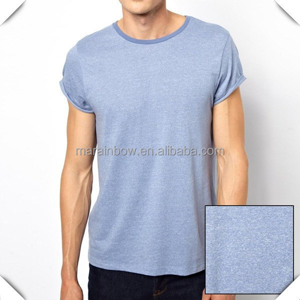 Basic plain design soft thin fabric heather cotton rayon brand name custom t shirt for men wholesale