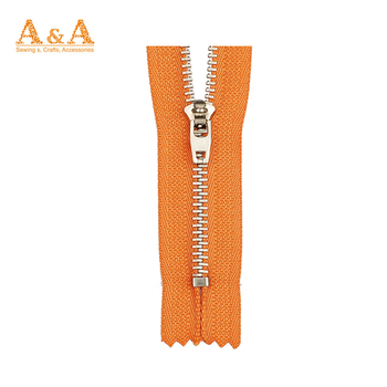 No.3 No.5 auto lock gold teeth close end brass metal zipper
