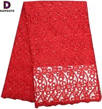 Red color guipure lace fabric chemical lace african guipure lace fabric with rhinestone 2054