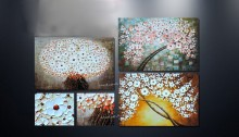 Wall art abstract patelle knife oil painting of flower