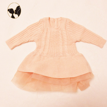 2018 hot sale knitted cotton sweater newborn baby clothes organza baby girl dress