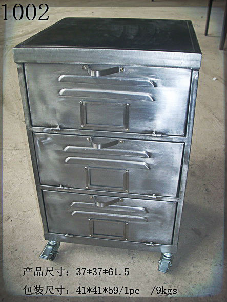Office Furniture Desk Stationery Office Supplies Vintage Industrial Style 3  Drawer Metal File Cabinet