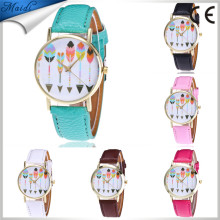 Alibaba Hot Fashion Ladies Arrow Pattern Leather Strap Analog Casual Quartz Vogue Wrist Watches LW085