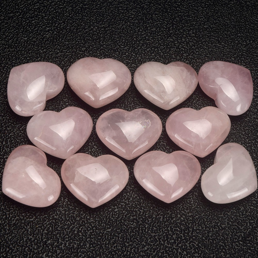 Rose Quartz Stone Hearts Heart Shaped Gemstones Lovers Gifts
