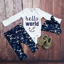 SEV.WEN Baby Boys Clothing Sets Newborn Girls Clothes Long Sleeve Romper Jumpsuit Long Pants hat Outfits