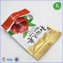 semi transparent food grade stand up pouch for snack red date/pistachio nuts food bag with zipper
