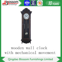 big size distressed wood wall clock with traditional system