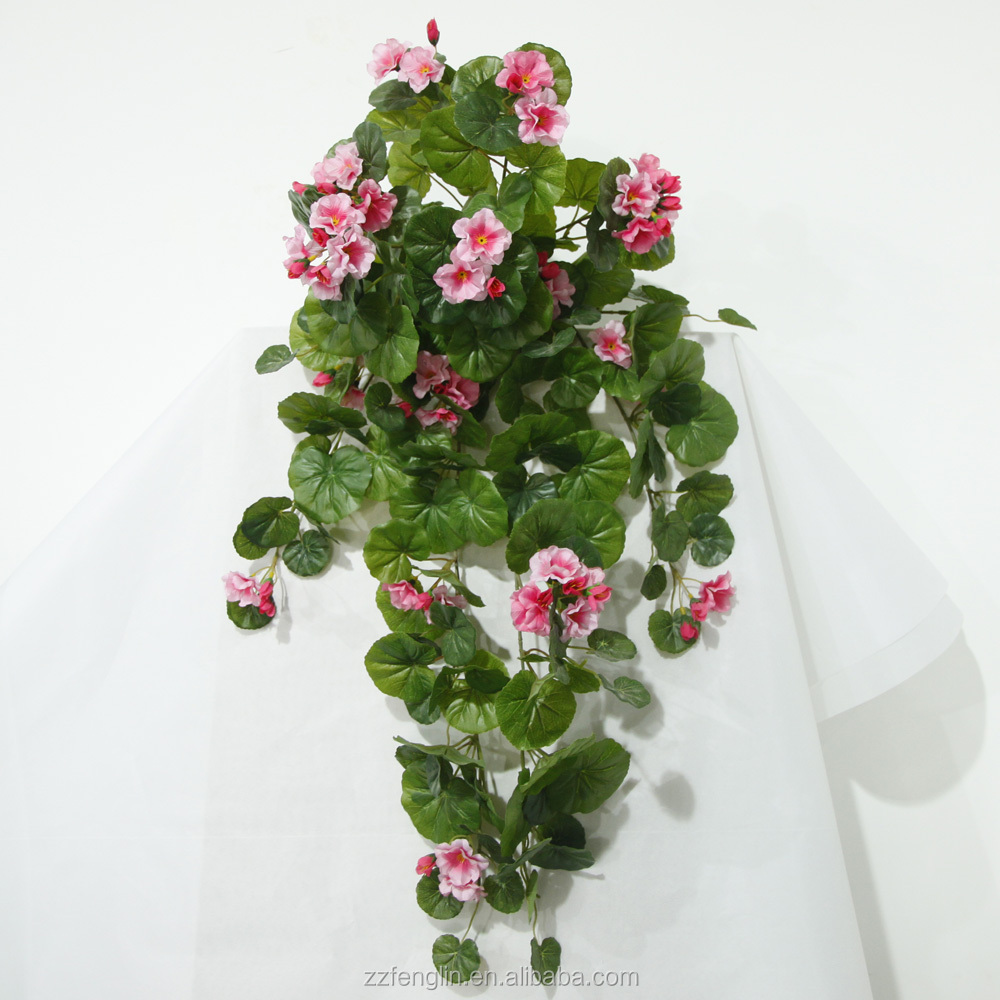Cheapest Silk Flower Hanging Baskets : Stock cheap artificial large trailing geranium flower for
