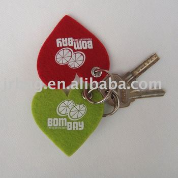 Clear lovers heart felt key chains for promotion