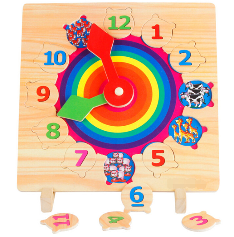 FQ brand wholesale Wooden clock Puzzle pre-school educational wooden puzzle wooden jigsaw puzzle for kids