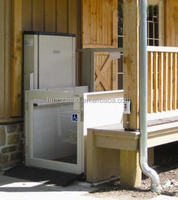 disabled used public utilities on building hydraulic wheelchair lift