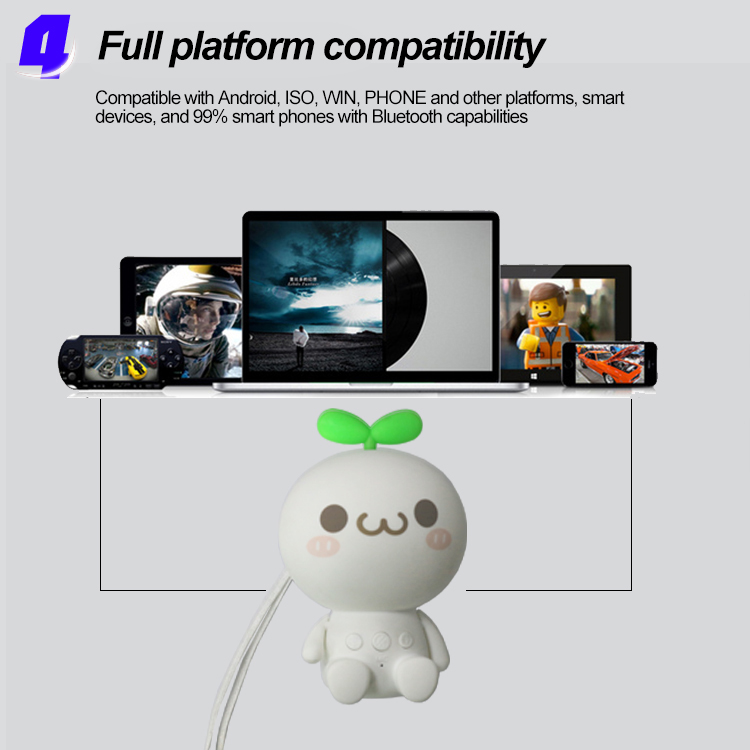 2018 new hot sale blue tooth speaker Wireless cartoon toy head grass touch sound blue tooth speaker