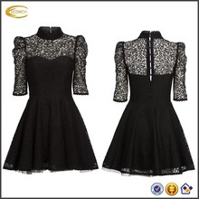 Ecoach Women clothes Wholesale Princess adult puff sleeve ladies fashion lace dress