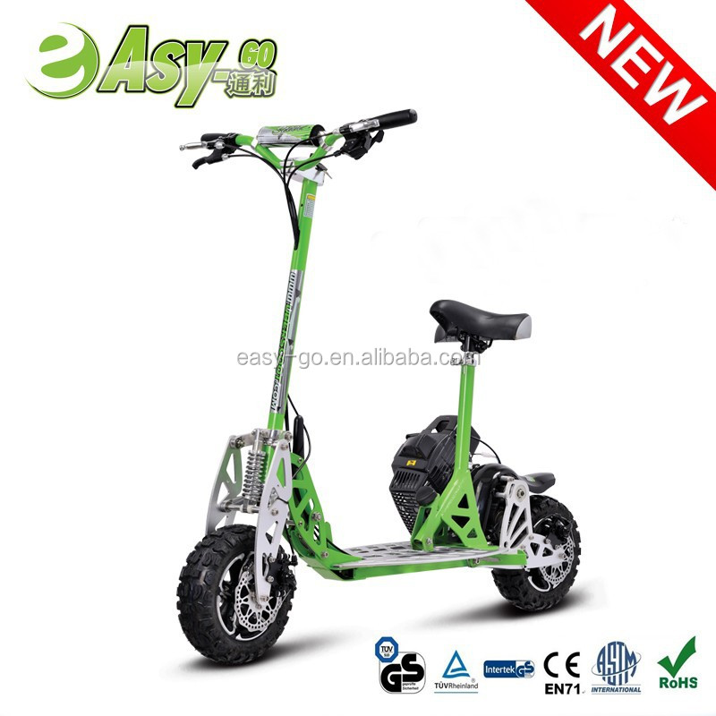 easy-go/Uberscoot/EVO world-first 2 speed folding 3 wheel gas scooter with removeable seat