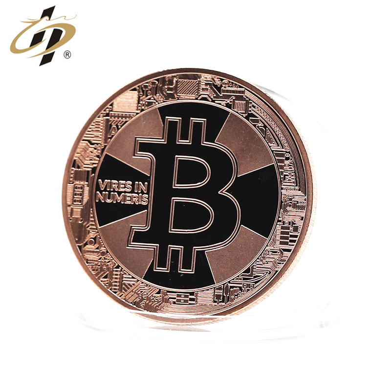 Popular sales Promotional Bright copper stamp Painting  bitcoin style gold make your own metal coins