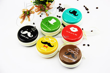 Mustache Low MOQ Custom Logo Round Metal Tin Coin Wallet for Promotion