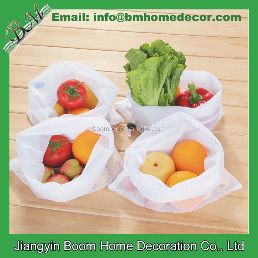 Reusable Drawstring Mesh Produce Bags For Store Food, Vegetable and Fruit