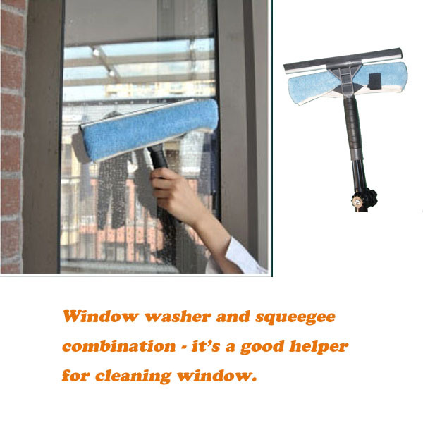 Multifunctional window cleaning scraper mop and telescopic pole