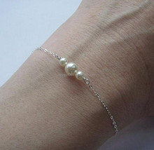 Gold Silver Simple White Pearl Bracelets Thin Link &Chain Bracelet