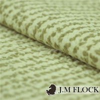 Beige yellow color polyester embossed flock print furniture fabric for garden