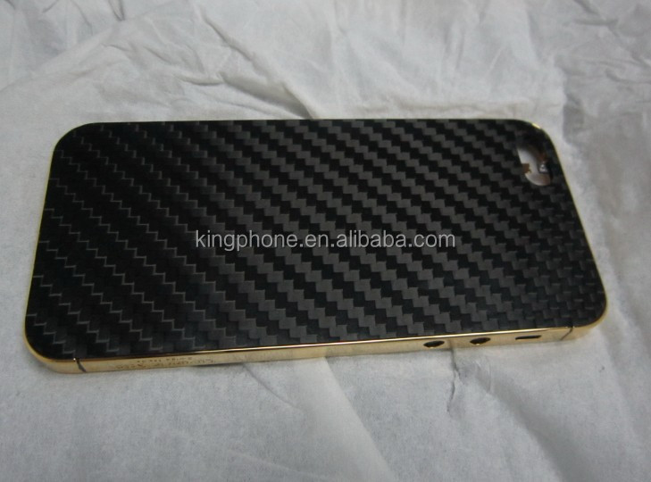 Carbon fiber 24k gold housing for iPhone 5S,for iphone 5 24k gold housing